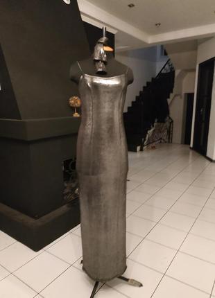 Серебряное платье в пол длинное макси с перчатками