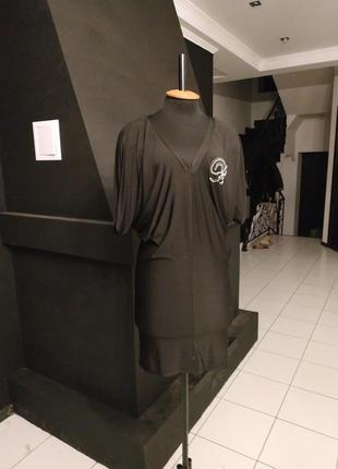 Чёрное платье летучая мышь мокрый трикотаж свободное