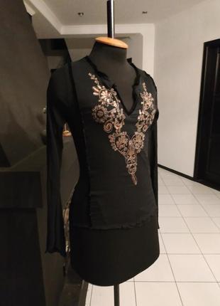 Итальянская блуза шифон этно бохо декор пайетки