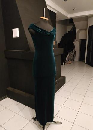 Изумрудное платье с перчатками бархат италия макси в пол