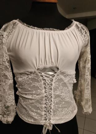 Винтажная блуза на шнуровке гипюр кружево винтаж