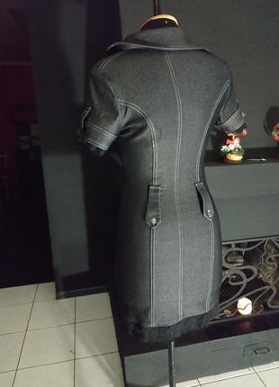 Джинсовое платье - рубашка с кружевом ткань под джинс