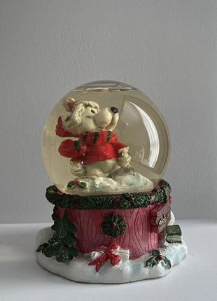 Статуэтка стеклянный шар с собачкой