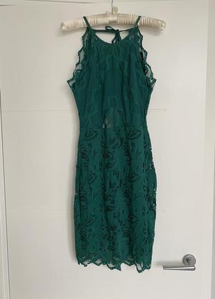 Кружевное изумрудное платье h&m