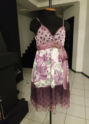 Красивое платье шифон камни тафта крупный горох