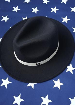 Шляпа федора унисекс с белой лентой  в стиле maison michel черная