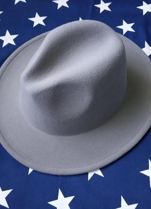 Шляпа федора  с устойчивыми полями унисекc серая