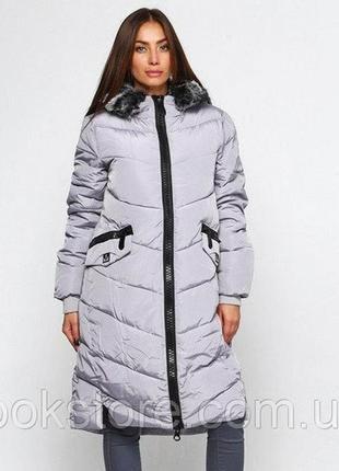 Женская длинная куртка парка пуховик uniqloоk с толстой молние...