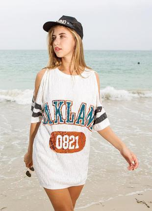 Женское платье туника с открытыми плечами oakland с пайетками ...