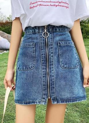 Женская джинсовая юбка трапеция на молнии м
