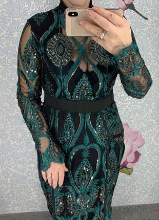 Платье женское нарядное вышивка на сетке с паетками