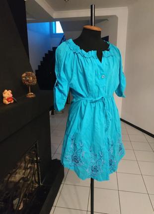 Яркое платье - рубашка в этно стиле с вышивкой