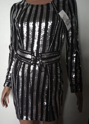 Женское вечернее нарядное платье расшитое пайетками с поясом с...