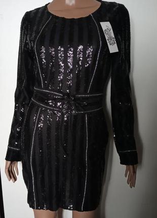 Женское вечернее нарядное платье расшитое пайетками с поясом ч...