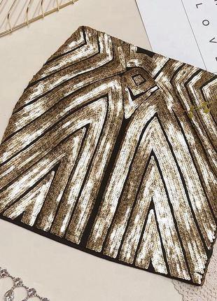 Женская бандажная юбка с паетками золотая