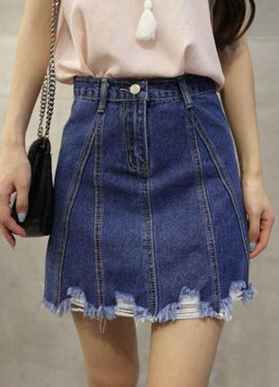 Женская короткая джинсовая юбка рваная cool baby синяя