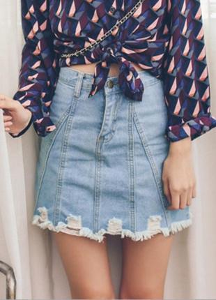 Женская короткая джинсовая юбка рваная cool baby голубая