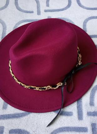Шляпа федора с устойчивыми полями унисекс с декором цепочка бо...