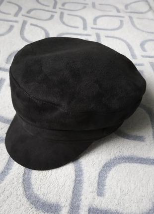 Женский картуз, кепи, фуражка замшевый черный