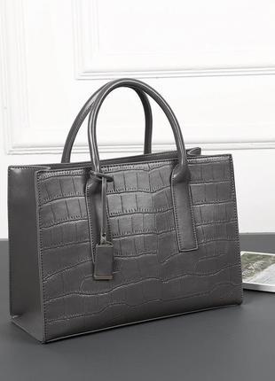 Женская вместительная сумка reptile серая