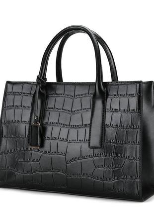 Женская вместительная сумка reptile черная