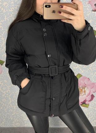 Женская куртка объемная зефирка черная