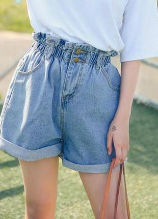 Женские джинсовые шорты с подворотом голубые