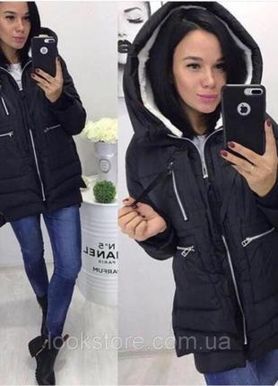 Женская куртка парка трансформер черная
