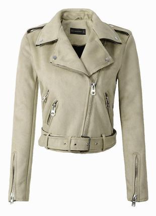 Женская замшевая куртка косуха бежевая