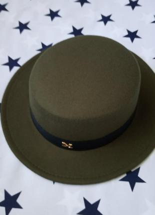 Шляпа женская канотье темно - зеленая с лентой м