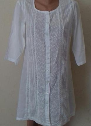 Белое натуральное платье с вышивкой