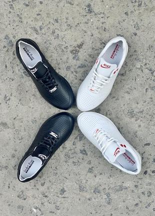 Женские кроссовки кожаные белые чёрные