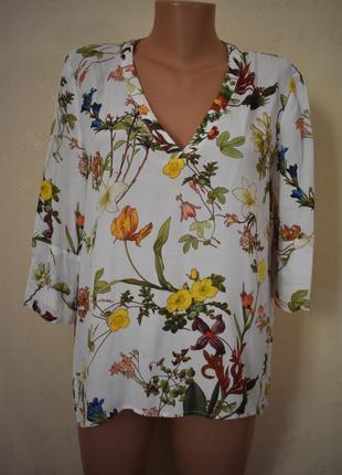 Натуральная блуза с принтом zara