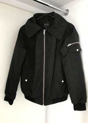 Черный бомбер, демисезонная куртка, черная ветровка, куртка-бо...