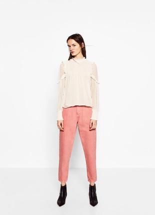 Розовые плотные джинсы мом zara