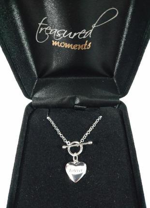 "Браслет кулон из стерлингового серебра ""сердце""  925 проба аме..."