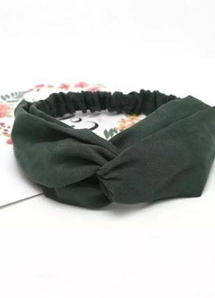 повязка на голову замшевая, чалма, зелёная повязка на голову замш