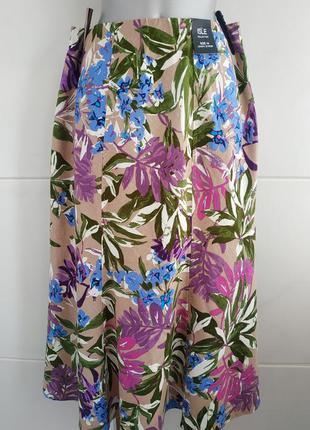 Новая льняная юбка-миди isle с принтом красивых цветов