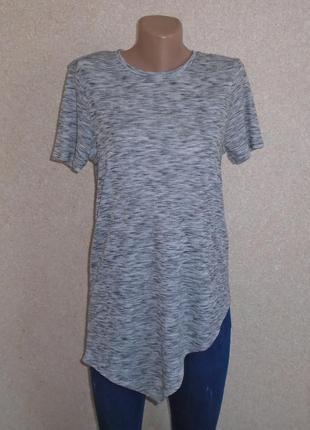 Асиметрмческая футболка в рубчик\удлиненная футболка\асиметрич...