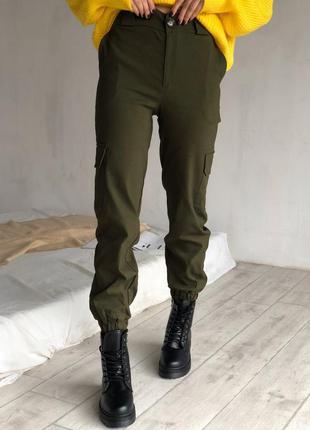 Карго брюки хаки