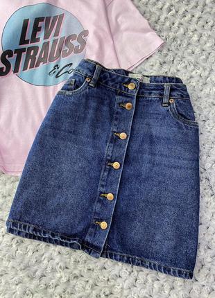 Джинсовая мини юбка на болтах new look