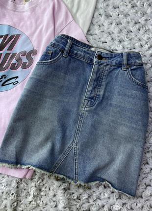 Джинсовая мини юбка new look с необработанным краем на болтах