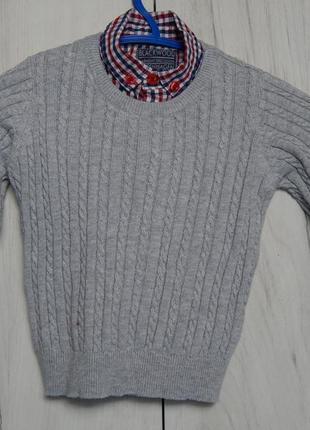 Пуловер с воротником рубашки