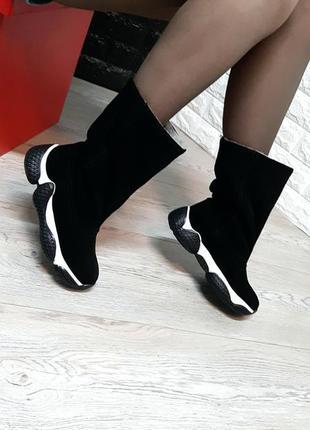 Зимние замшевые спортивные сапоги сапожки чоботи натуральна за...