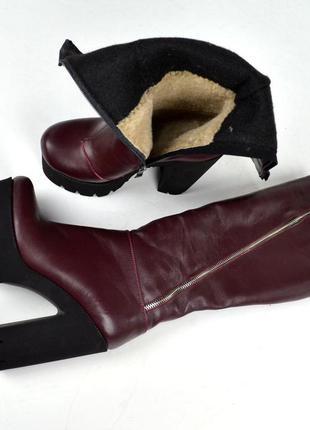 Зимние кожаные сапоги на каблуках чоботи сапожки натуральная к...