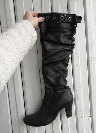 Кожаные ботфорты сапоги сапожки натуральная кожа шкірянічоботи...