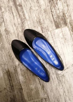 Черные лаковые балетки l&m туфли туфлі туфельки лак