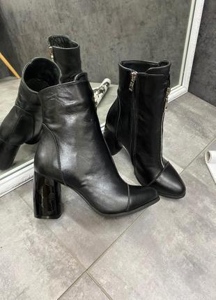 Кожаные ботинки на каблуках шкіряні черевики натуральная кожа ...