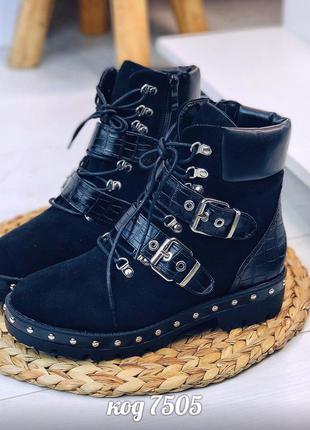 Чорні демісезонні черевики черные демисезонные ботинки