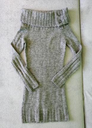 Теплое серое платье туника тепле плаття сукня туніка